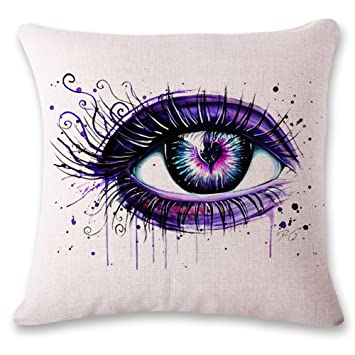 Amazon.com: Funda de almohada, Colored pintado a mano ojos ...