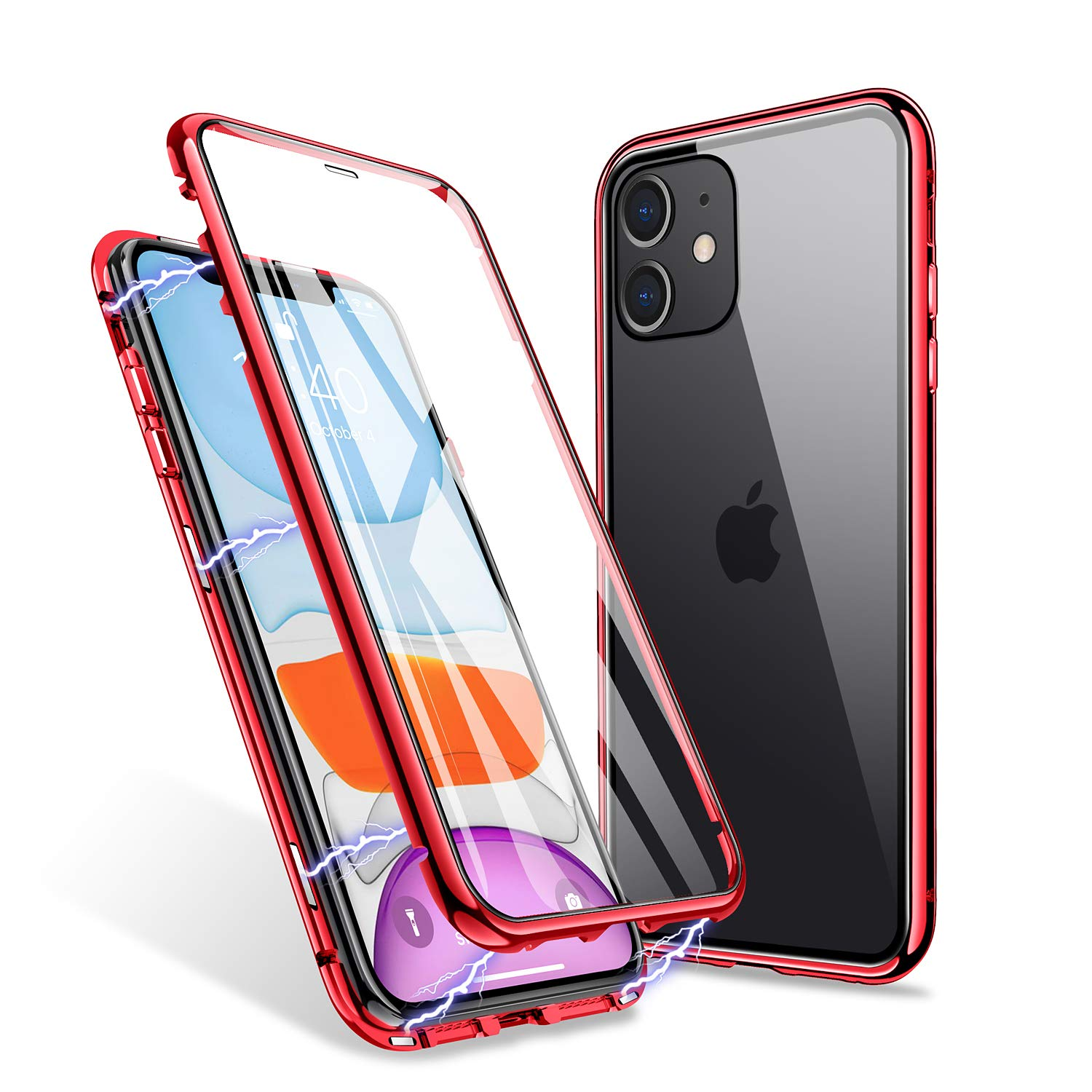 ZHIKE iPhone 11 Case, Magnetic Adsorption Case Front and Back Tempered Glass Full Screen Coverage One-piece Design Flip Cover [Support Wireless Charging] (Clear Red)