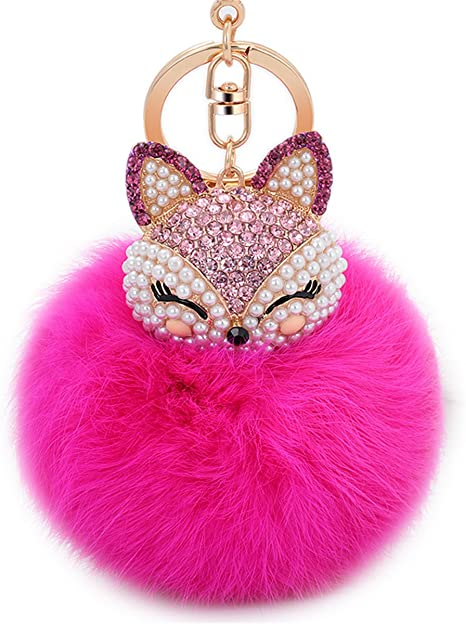 Anple Real Rabbit Fur Ball with Artificial Fox Head Inlay Pearl Rhinestone Key Chain for Womens Bag or Cellphone or Car Pendant (Rose Red)
