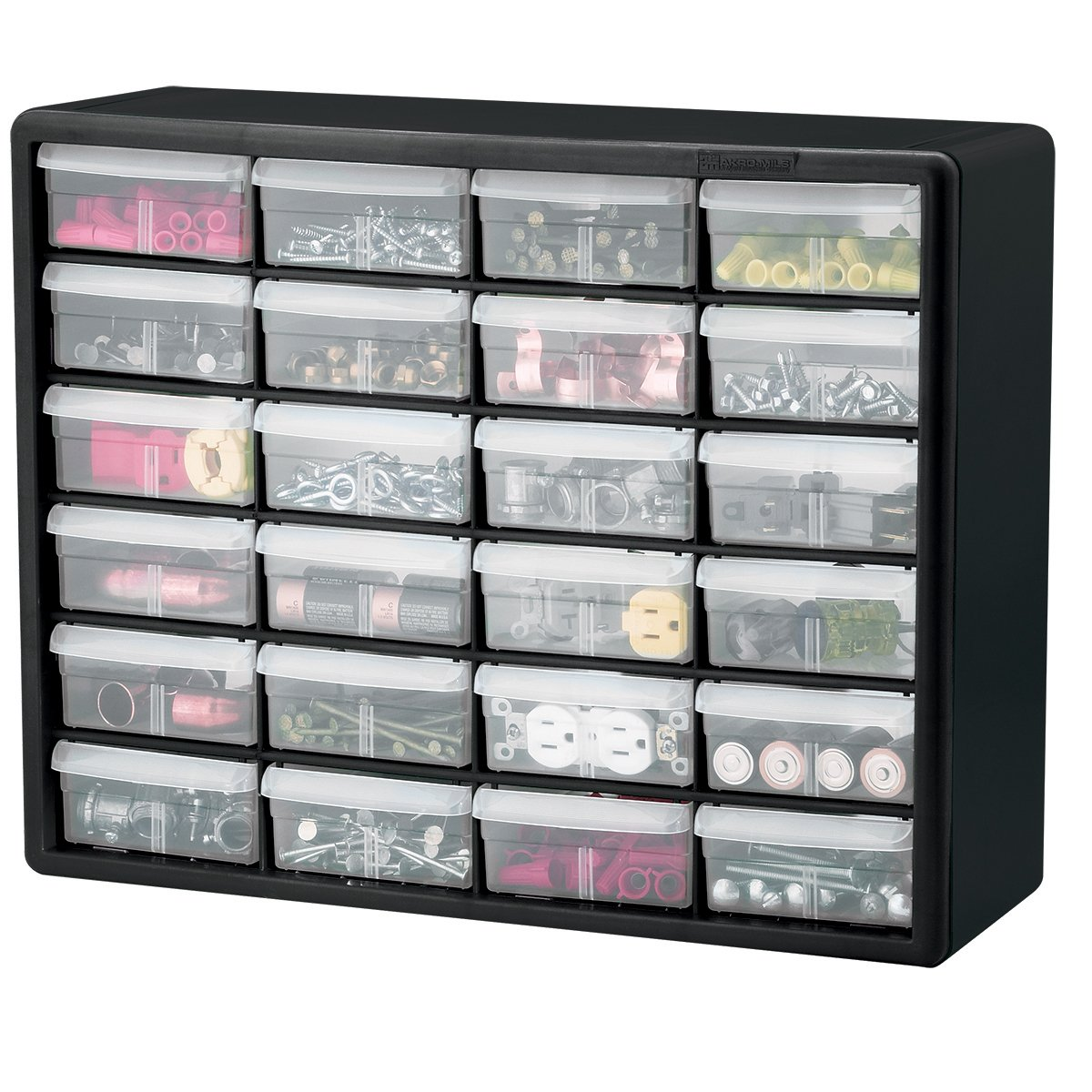 Amazon.com Akro-Mils 10724 24-Drawer Plastic Parts Storage Hardware and Craft Cabinet 20-Inch by 16-Inch by 6-1/2-Inch Black Home Improvement  sc 1 st  Amazon.com : small storage drawers plastic  - Aquiesqueretaro.Com