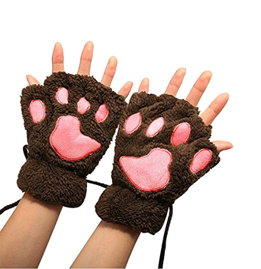 Neu Mode Winter Warm Damen Fingerlose Handschuhe Plüschhandschuhe Halbfinger