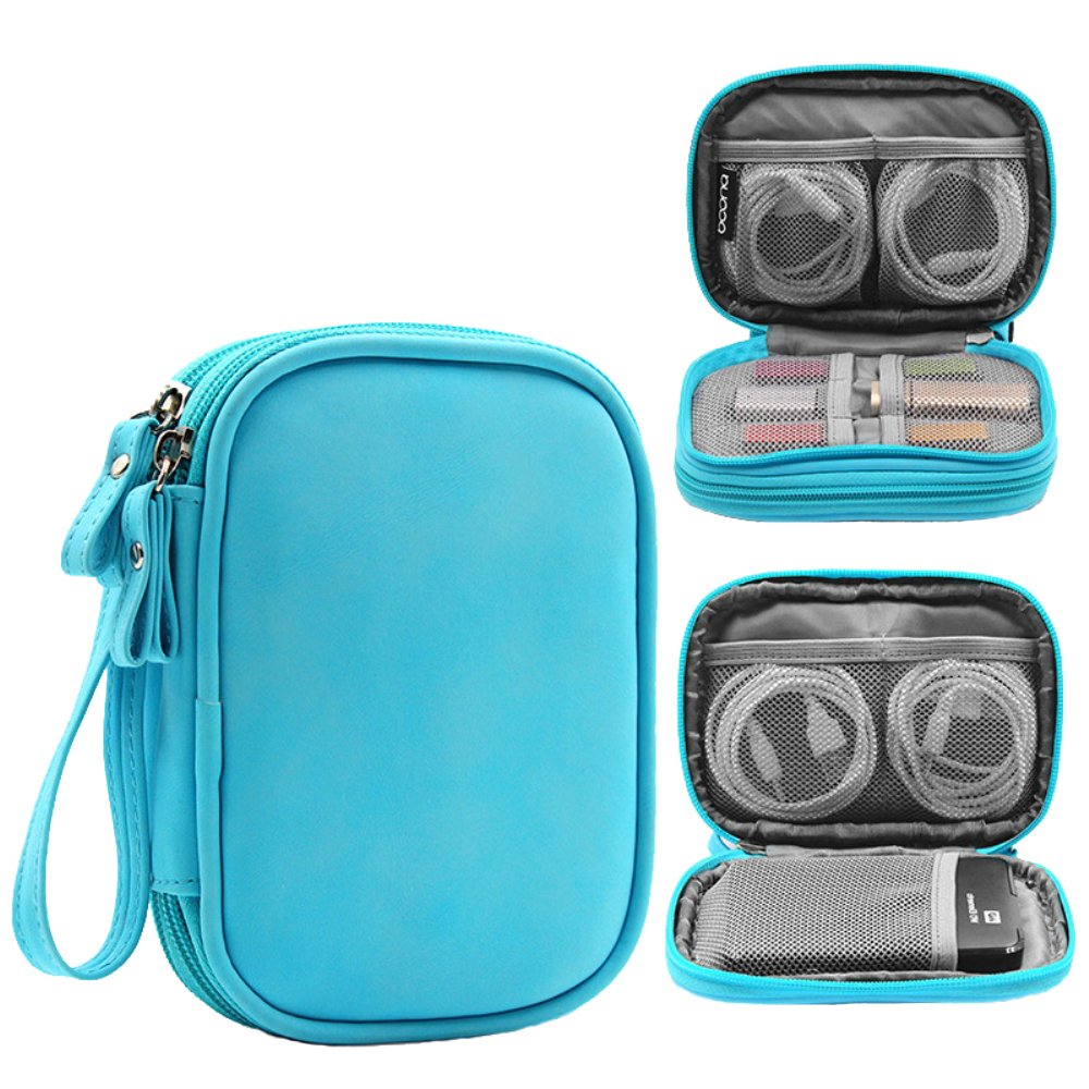 Honeystore Double Layer Gadget Organizer Universal Travel Gear Electronics Accessories Bag Electronics Carrying Case for USB Cable, Flash Drive, Hard Disk, Earphone, SD Card, Power Bank and More Blue by Honeystore (Image #1)