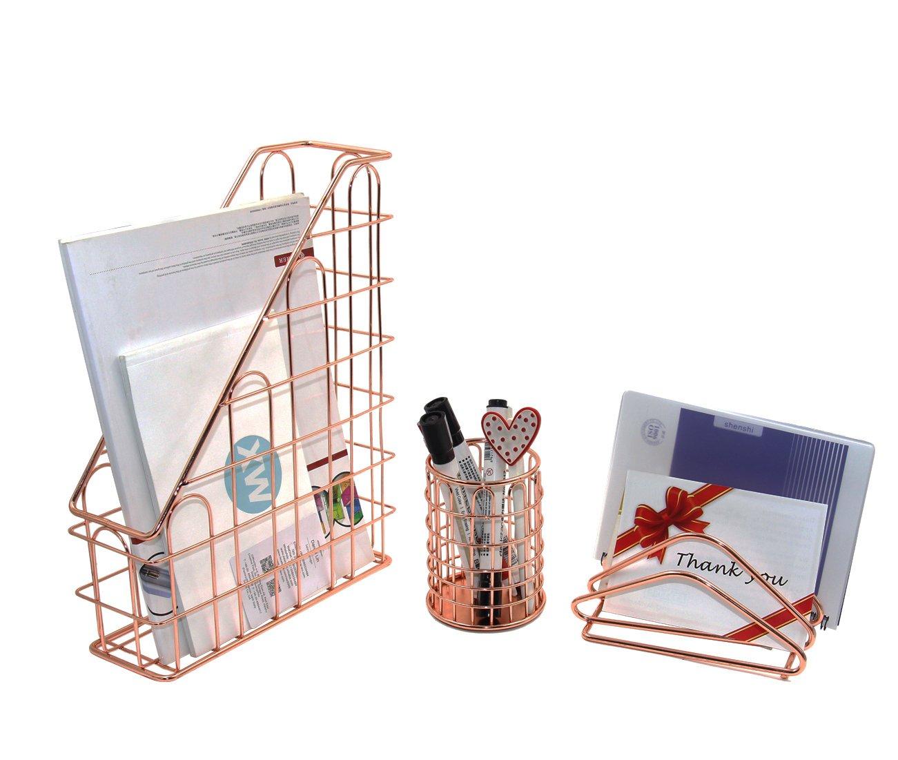 Superbpag Wire Metal 3 in 1 Desk Organizer Set- Letter Sorter, Pencil Holder and 1 Vertical Desk File Organizer