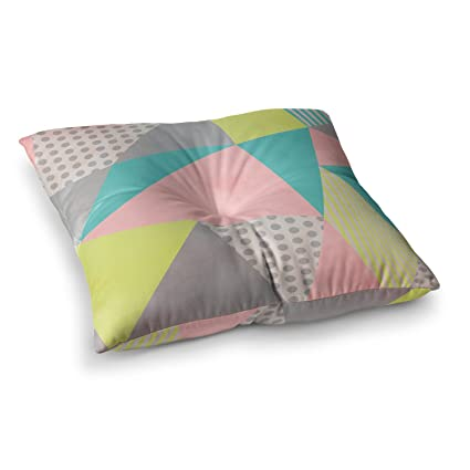 23 x 23 Square Floor Pillow Kess InHouse Claire Day Flow Blue Green