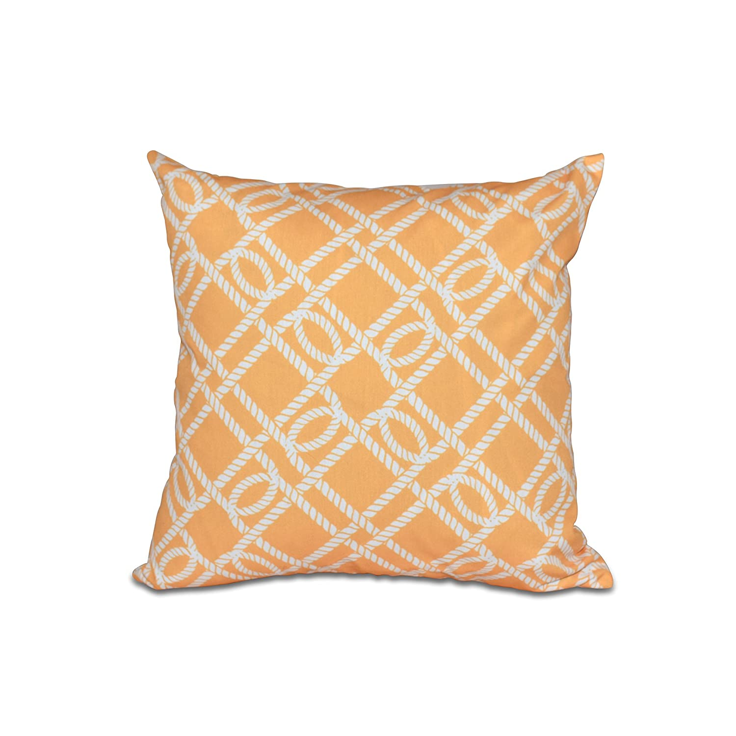 E by design O5PGN409YE8-18 18 x 18 Know The Ropes, Geometric Pillow Yellow