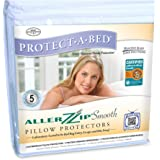 Protect-A-Bed AllerZip Smooth Waterproof Pillow Protector, Standard 21 by 27-Inch, 2-Pack