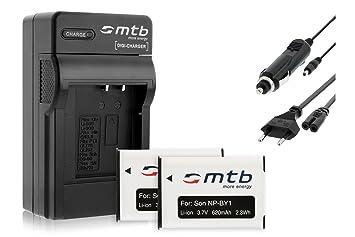 2x Baterìas + Cargador (Coche/Corriente) NP-BY1 NPBY1 para Sony HD Action Cam Mini AZ1 con Wi-Fi / HDR-AZ1 (KIT), HDR-AZ1VR