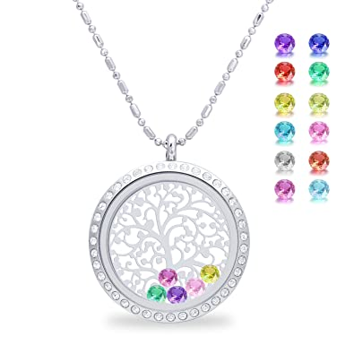 Amazon family tree of life floating charm living memory family tree of life floating charm living memory lockets pendant magnetic closure stainless steel birthstone mozeypictures Images