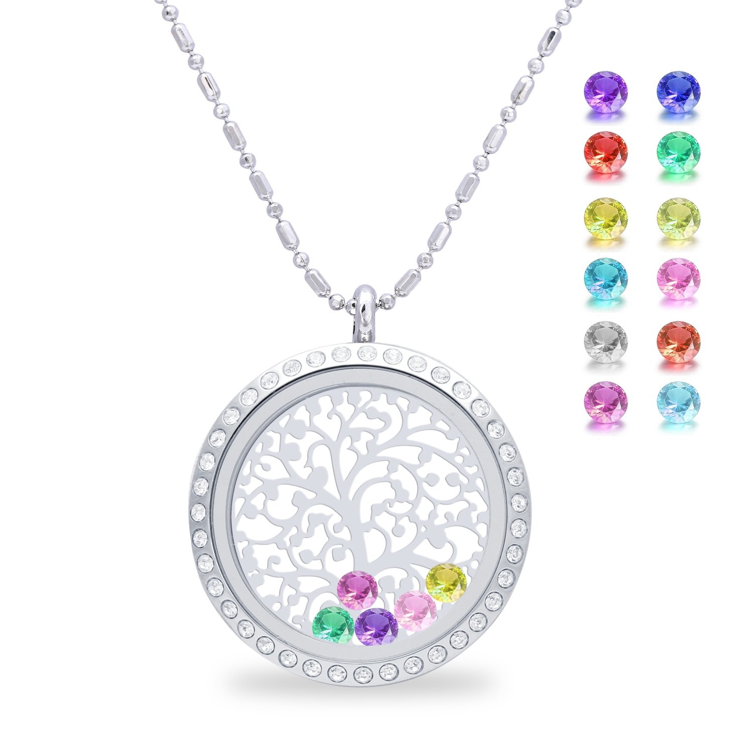 Family Tree of Life Floating Charms Living Memory Lockets, Mother Birthstone Magnetic Closure Stainless Steel Necklace, Jewelry Birthday Gifts for Mom, mother-in-law (Diamond)