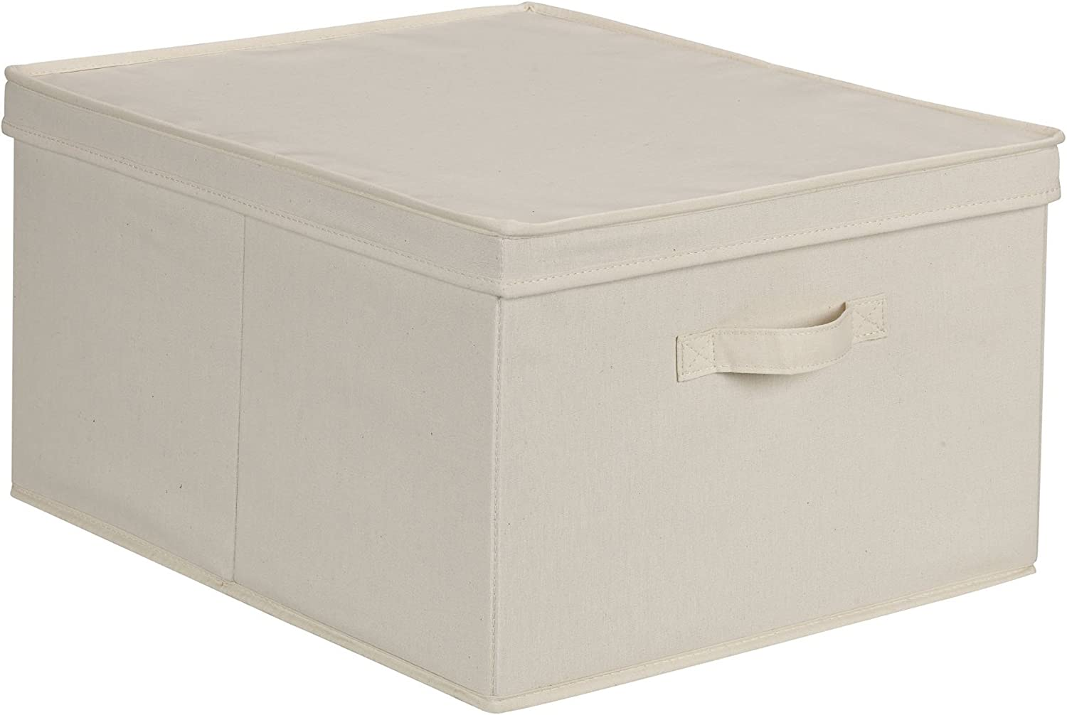 Amazon Com Household Essentials 115 Storage Box With Lid And Handle Natural Beige Canvas Jumbo Home Kitchen
