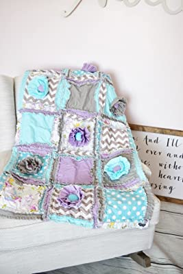 Floral Baby Girl Crib Quilt - Purple/Aqua / Gray - QUILT ONLY