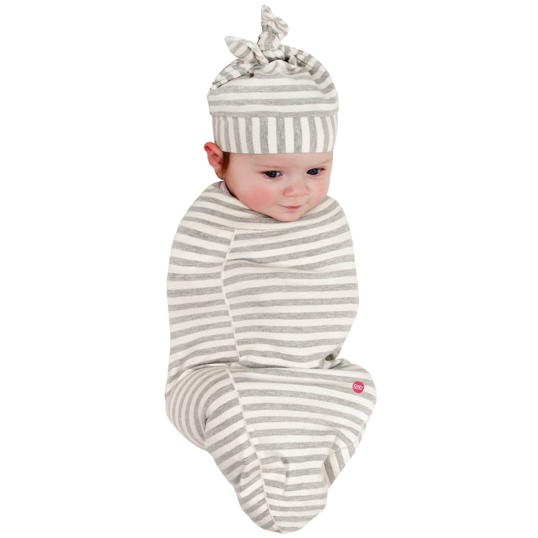 Cozy Cocoon Baby Cocoon Swaddle and Matching Hat, Gray Stripes, 0-3 months by Cozy Cocoon (Image #1)