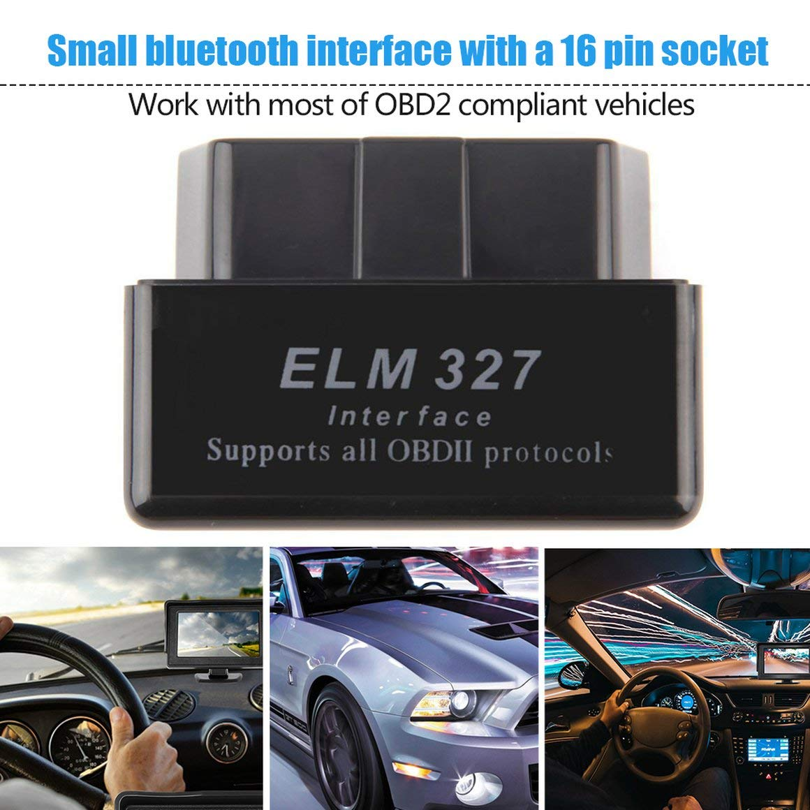 Funnyrunstore Mini esc/áneres de Interfaz de veh/ículos inal/ámbricos ELM327 Software de Interfaz de diagn/óstico Auto Car Scanner para Android