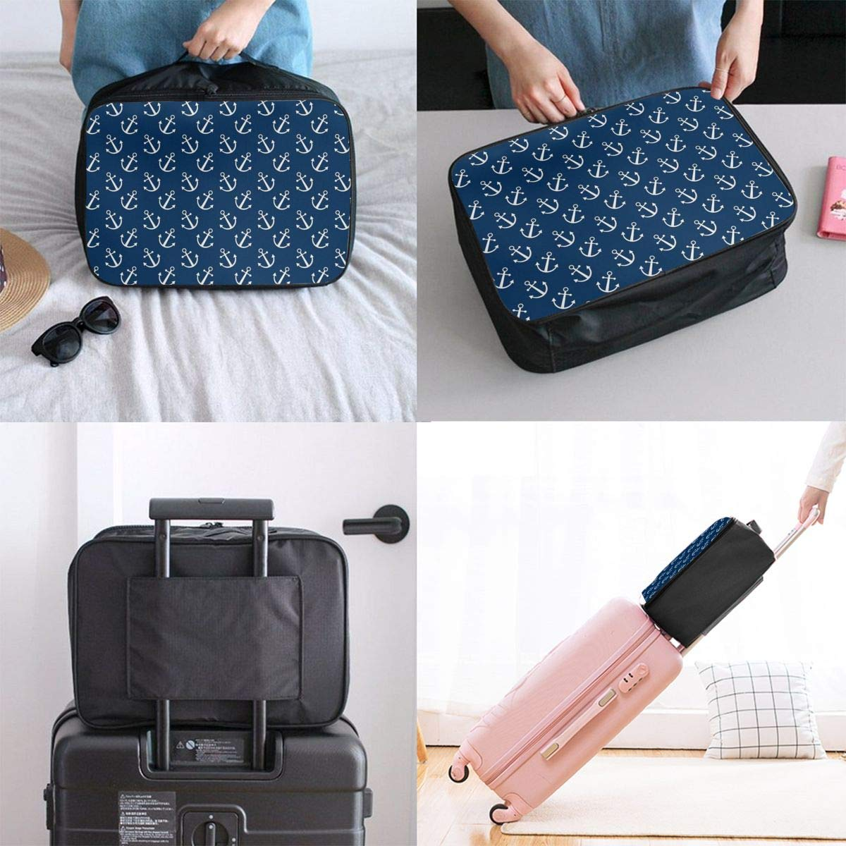 Lightweight Large Capacity Duffel Portable Luggage Bag Navy Anchors Pattern Travel Waterproof Foldable Storage Carry Tote Bag