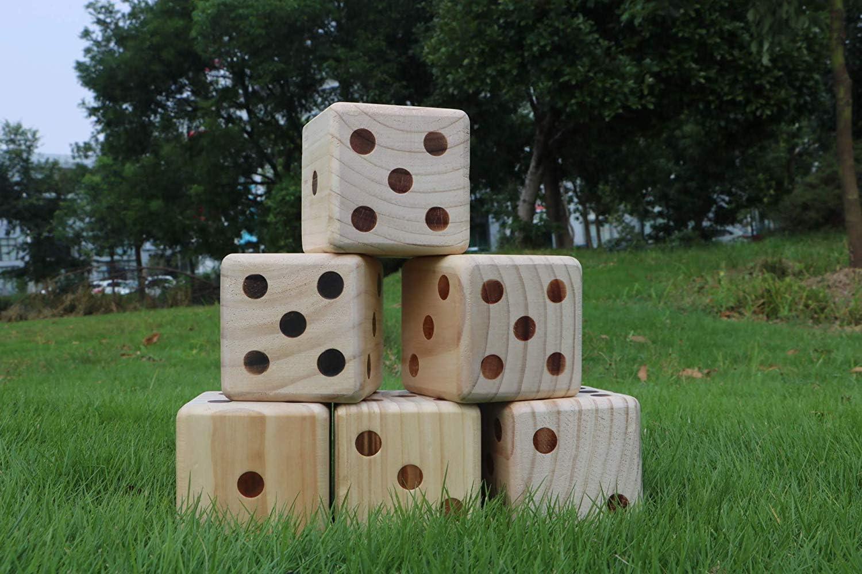 DRAROAD Giant Wooden Yard Dice Outdoor Game with Bonus Yardzee and Farkle Scores