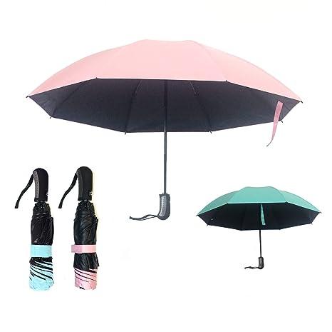 Ombrello Inverso Portatile Pieghevole 2a Generazione Automatico Antivento  Mini Reversibile Resistente Leggero Doppio Strato (Rosa b1aa83507b54