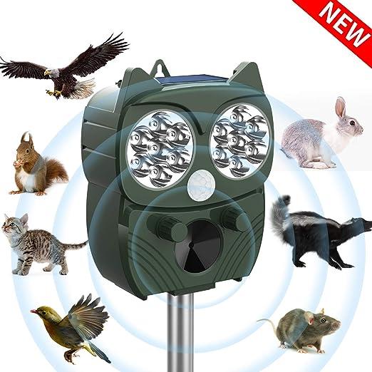 PICILOO - Ahuyentador de gatos, ultrasónico, repelente solar de animales, pájaros, gatos, martas, gatos, perros y gatos, con luz flash, resistente al agua, 5 modos: Amazon.es: Jardín