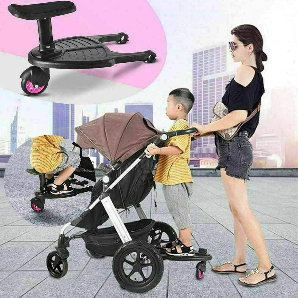 Universal Buggy Board With Seat Kids Stand Board Stroller Pram Pushchair Connector Pink
