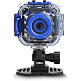 DROGRACE Children Kids Camera Waterproof Digital Video HD Action Camera 1080P Sports Camera Camcorder DV for Boys Birthday Holiday Gift Learn Camera Toy 1.77'' LCD Screen (Navy Blue)