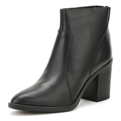 Tower London Damen Schwarz Skin Leder Ankle Stiefel-UK 4 Spz5o