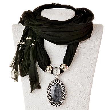 Sumaju scarf necklace shawl necklace scarves pendant black oval sumaju scarf necklaceshawl necklace scarves pendant black oval resin fabric hollowed flower little rhinestone aloadofball Gallery