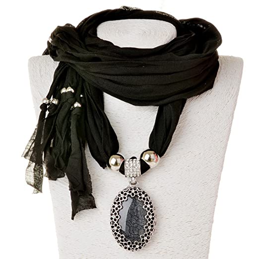 Sumaju scarf necklace shawl necklace scarves pendant black oval sumaju scarf necklaceshawl necklace scarves pendant black oval resin fabric hollowed flower little rhinestone aloadofball Image collections