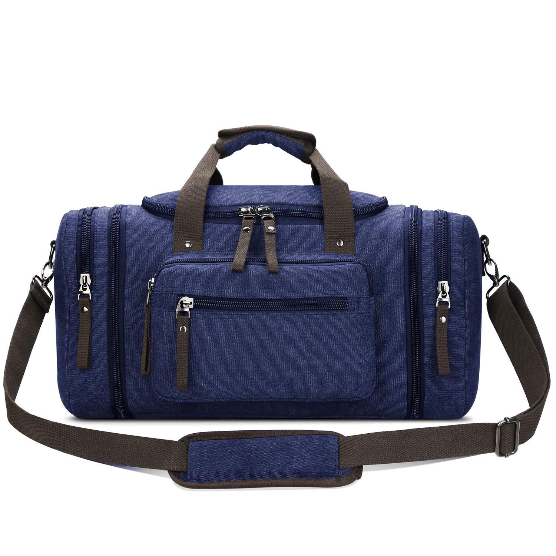 afee80d2eb1 Amazon.com | Toupons Canvas Duffel Bag Travel Bag for Men Overnight Bag  Weekender Duffle Bag (Blue) | Gym Totes