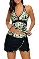 AlvaQ Women Printed Two Piece Swimsuits With Skirt (S-XXL)