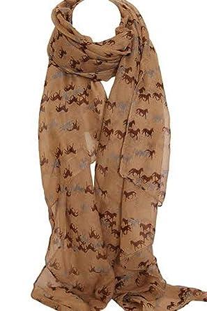 09665f49d5a Sur l élément élégant cheval Print grand foulard Etole Wrap Sarong (Beige)   Amazon.fr  Vêtements et accessoires
