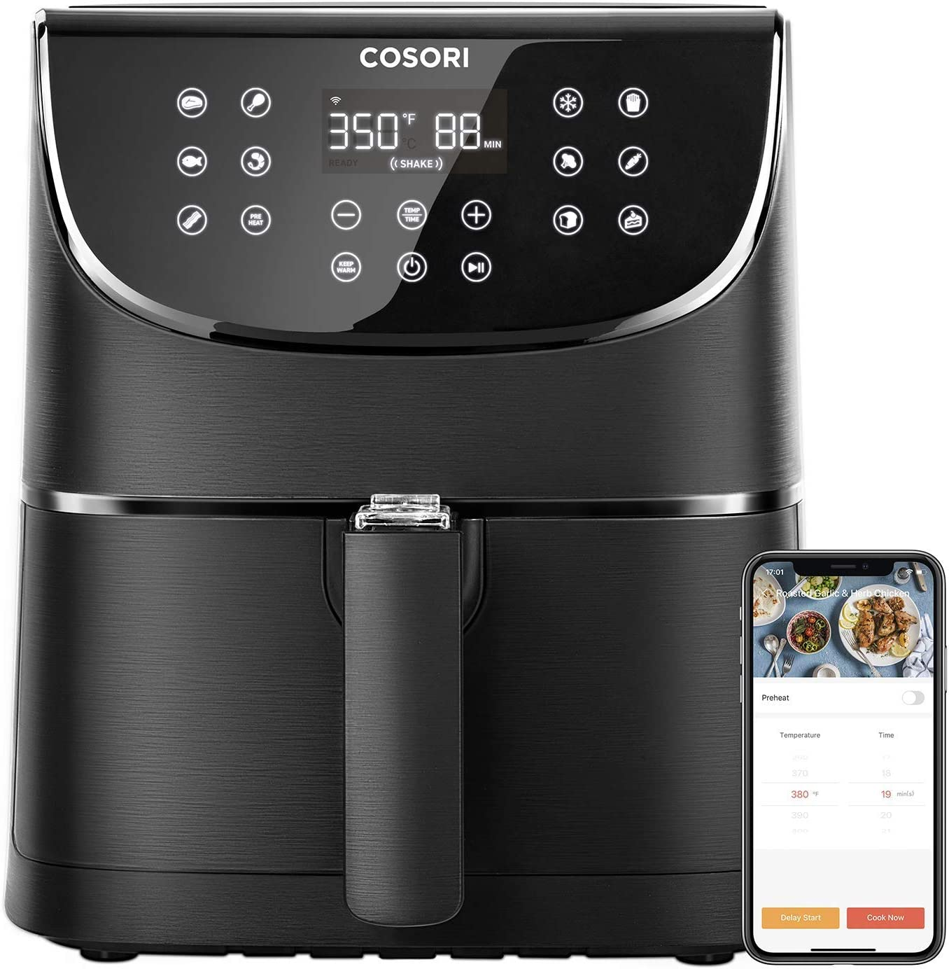 Cosori Smart WiFi Air Fryer 5.8QT(100 Recipes), 1700 Watt Programmable Base for Air Frying, Roasting and Keep Warm 11 Cooking Preset, Digital Touchscreen, 2 Year Warranty (Renewed)