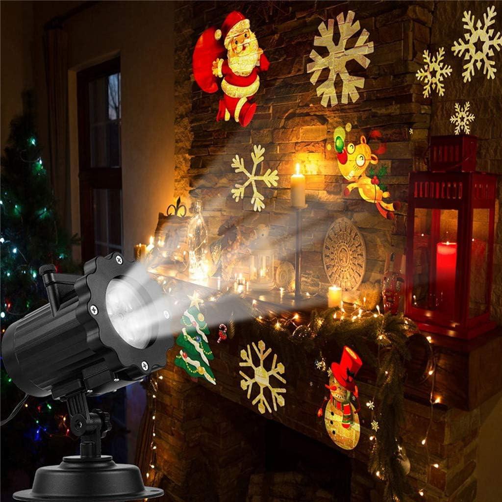 Cajolg Weihnachtsdeko Außen, Mobile Rotation Led Projektor Weihnachten Beleuchtung 16 Dias, Party Weihnachtslichter LED Projektor Lampe Weihnachtsbeleuchtung innen aussen,Europeanplug Australianplug