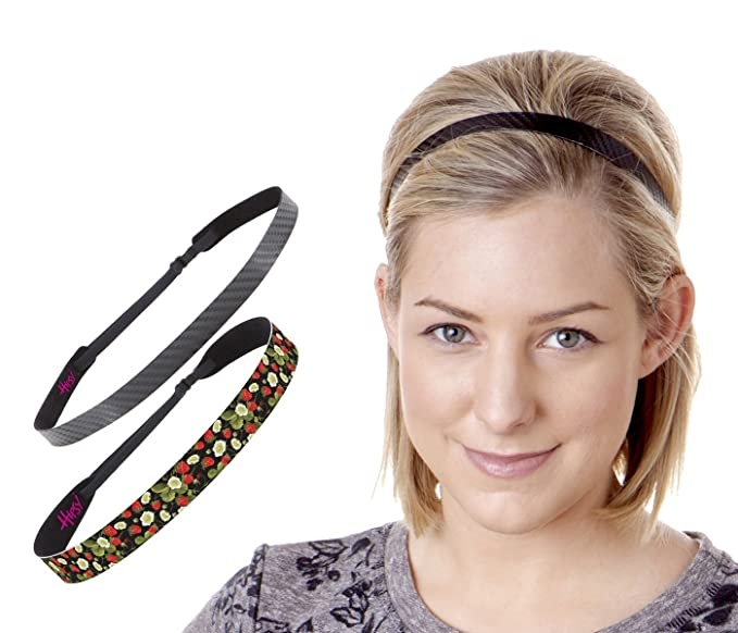 9e2ae58a3e9a Hipsy Adjustable   No Slip Fashion Headbands for Women Strawberry Gift Packs  (Black   Black