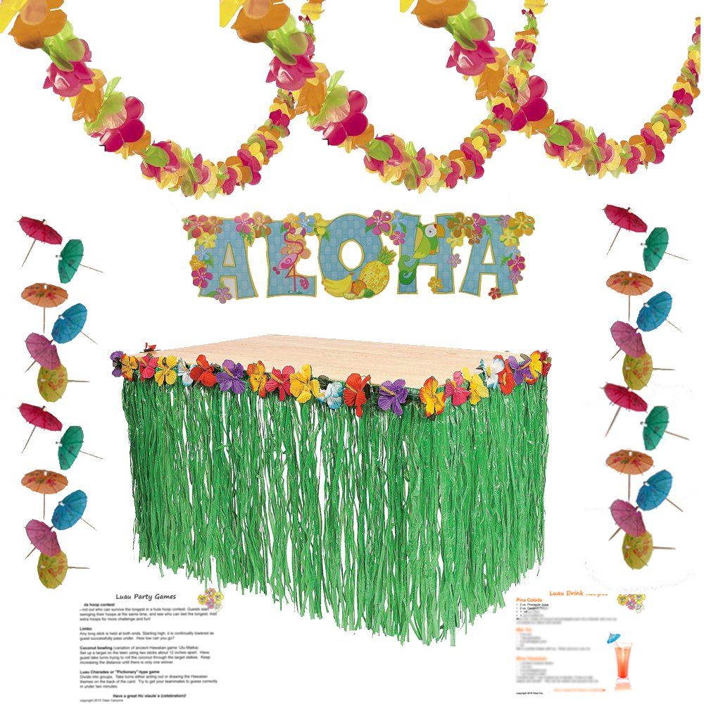 Amazon.com: Luau Party Supplies Kit: Lei Garland (100 ft), Grass ...
