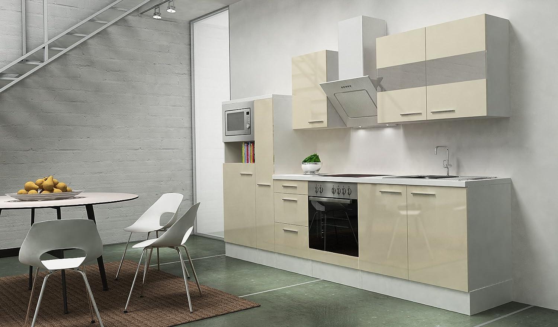 respekta Premium Instalación de Cocina Cocina 300 cm Botiquín de Vainilla Brillante vitrocerámica: Amazon.es: Hogar