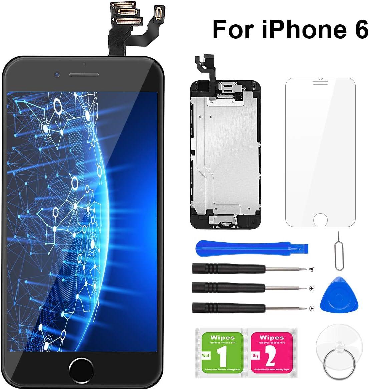 BuTure Para Pantalla iPhone 6 Negro Pantalla Táctil LCD con Cámara frontal, Sensor de proximidad, altavoz, ensamblaje de marco digitalizador y kit de reparación: Amazon.es: Electrónica
