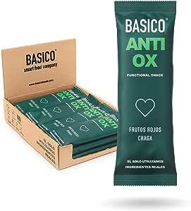 BARRITAS DE PROTEÍNA ANTIOXIDANTES Basico Foods Antiox. Naturales, Ecológicas, Veganas, Sin Azúcar Añadido. Eliminan Toxinas Y Previenen Las Lesiones. Pack de Pack de 12x30g
