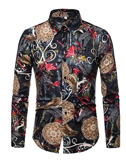 Fubotevic Mens Floral Printed Long Sleeve Slim Plus Size Lapel Collar Button Down Dress Shirts