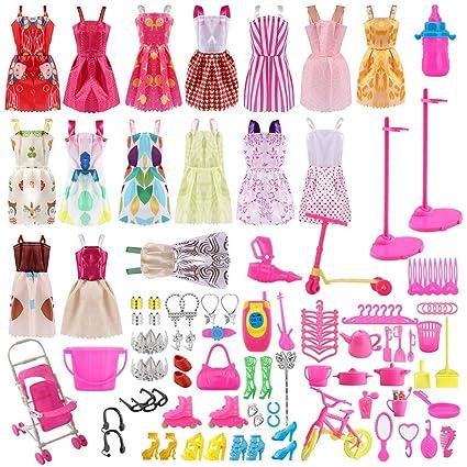 Siiruc Vestidos Para Barbie 120 Piezas Accesorios Barbie Ropa De Muñecas De Barbie Mini Vestidos De Moda Zapatos Perchas Y Accesorios De Cocina