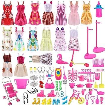 Siiruc Vestidos para Barbie, 120 Piezas Accesorios Barbie ...