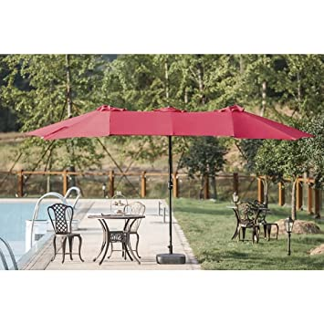 Patio Umbrella Large 14ft Sun Shade Effect With Crank Lift Double Sided  Alluminum Pole Outdoor