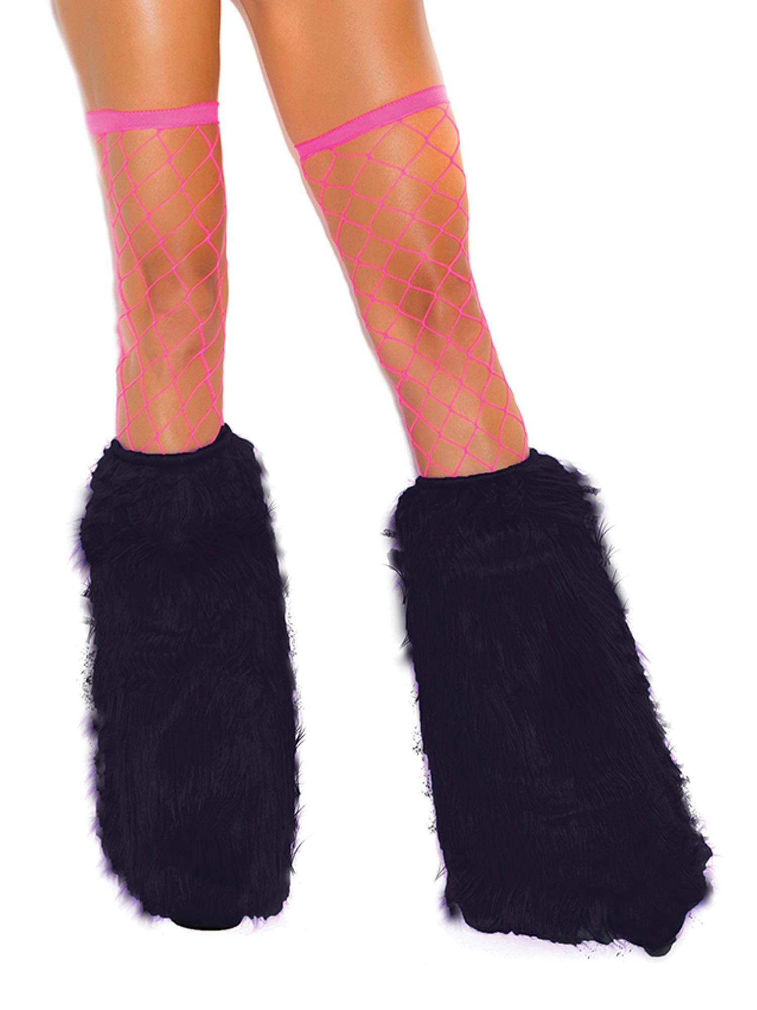 Elegant Moments Women's Knee High Fur Boot Covers Black One Size Fits Most
