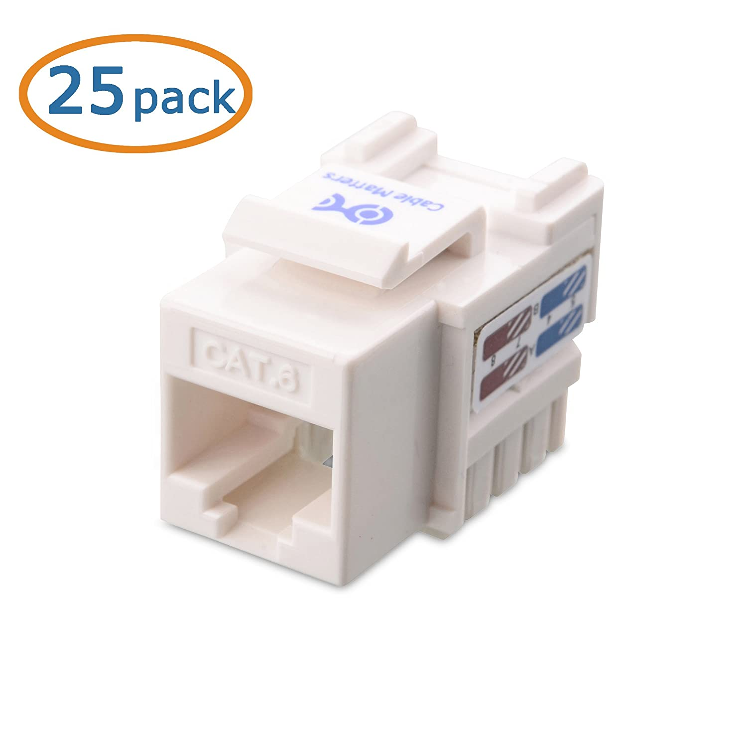 Ul Listed Cable Matters 25 Pack Cat6 Rj45 Keystone Jack In White 110 Block Wiring Diagram And Punch Down Stand Computers Tablets