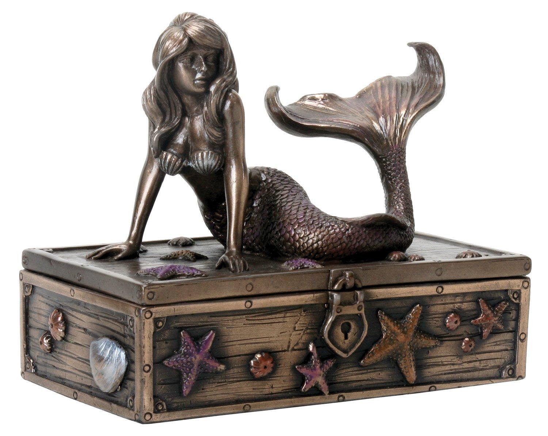 SUMMIT COLLECTION Art Nouveau Bronze Metal Colored Mermaid on Treasure Chest Knick-Knack Box YTC Summit International Inc 8394