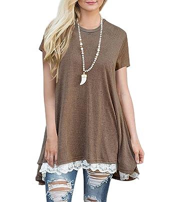 676de6623e4b Freestyle Damen Sommer Oberteile A-Linie Spitze Stitching T-Shirt Mini  Kleid Casual Baumwolle