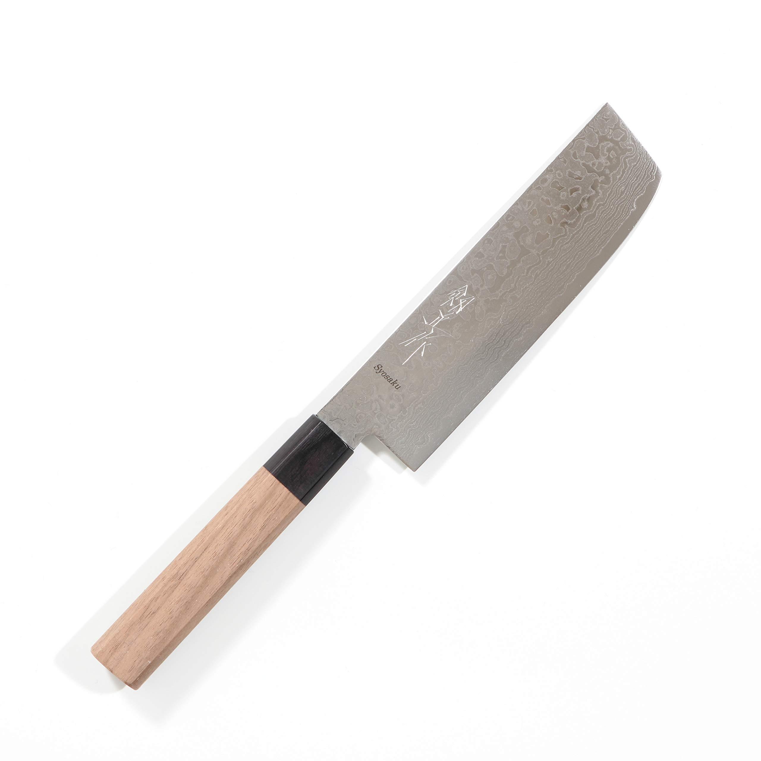 Syosaku Japan Vegetable Knife Damascus ZA18 69 Layer Octagonal Walnut Handle, Nakiri 6.3-inch (160mm)