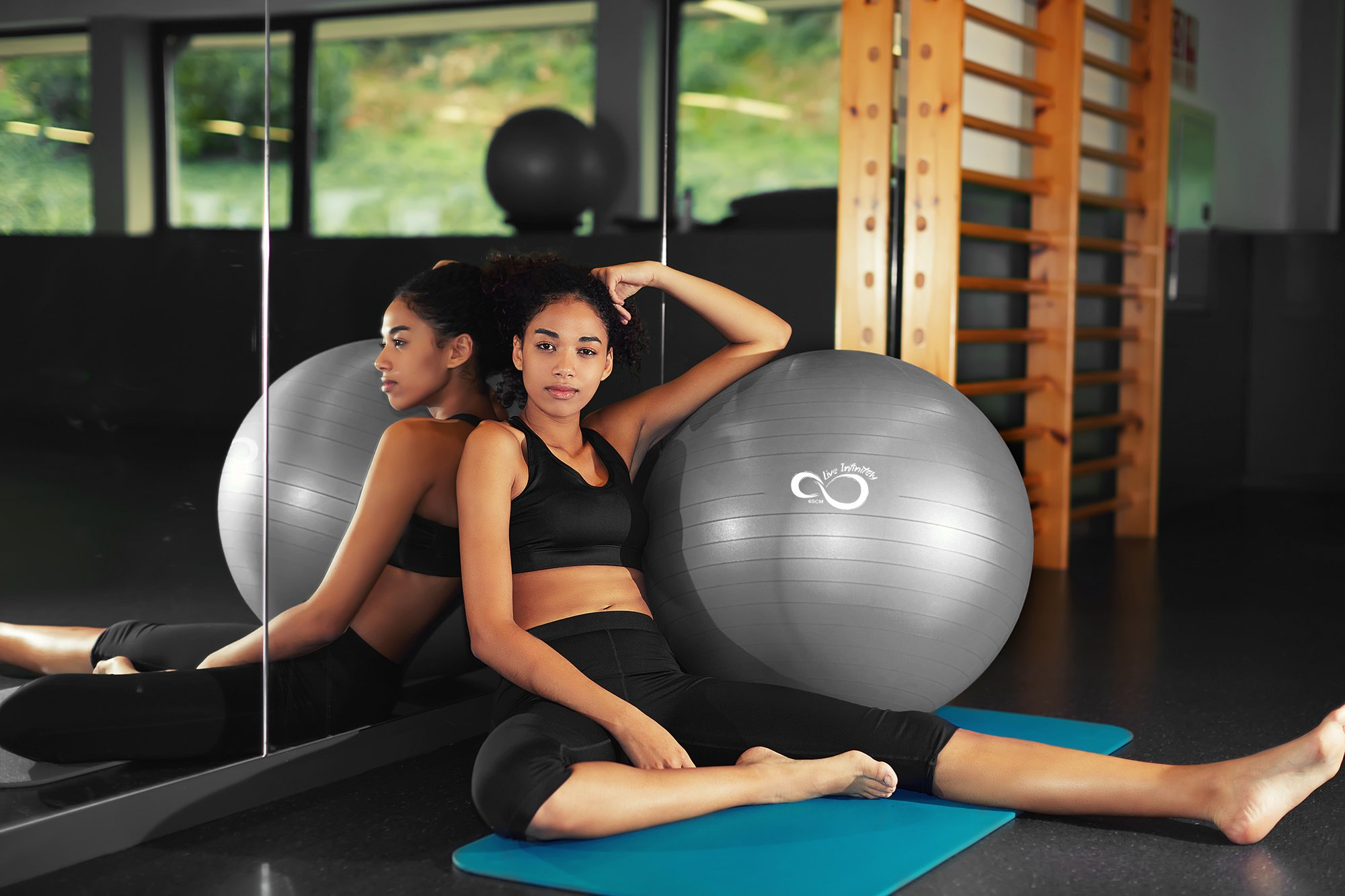 Exercise Ball -Professional Grade Exercise Equipment Anti Burst Tested with Hand Pump- Supports 2200lbs- Includes Workout Guide Access- 55cm/65cm/75cm/85cm Balance Balls (Light Silver, 65 cm) by Live Infinitely (Image #5)