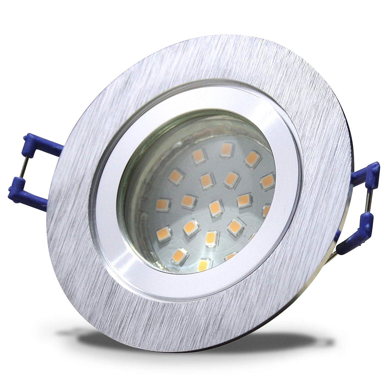 6 Stück IP44 SMD LED Bad Einbaustrahler Neptun 12 Volt 3 Watt Rund BiFarbe Warmweiß