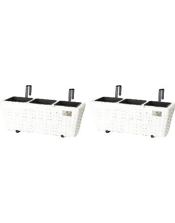 Jardinera para balcón de polyrattan incluye suspensión y 3 insertos plásticos, blanco, 2 piezas