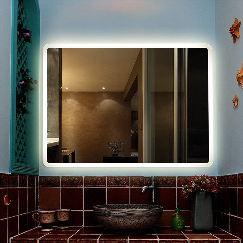PROMO-LINSGROUP Dimmable Vanity Bathroom Home/Office LED Lighted Mirror Hanged Two-Way Frameless Backlit Wall Mirror Anti-Fog with Touch Button (32''X24'', White Light 2)