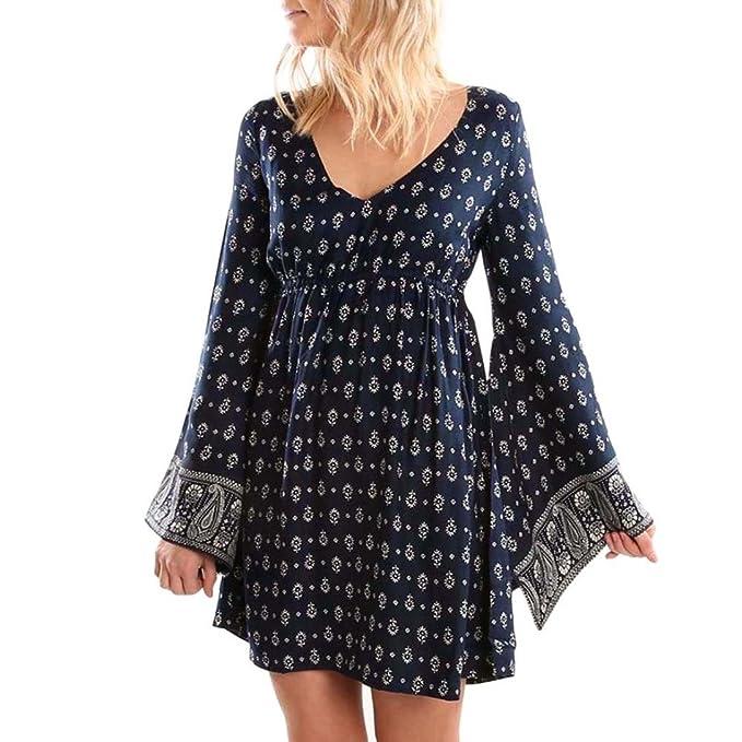 Vestido de mujeres , SHOBDW Mini de vestidos mango larga casual de V-Collar de